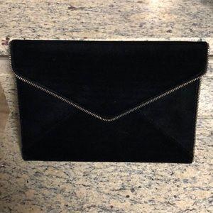 Rebecca Minkoff Leo black velvet envelope clutch